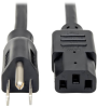 Desktop Computer Power Cable, NEMA 5-15P to C13 - 10A, 125V, 18 AWG, 12 ft., Black -- P010-012