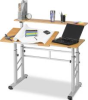 ADJUSTABLE SPLIT LEVEL WORKSTATION, 47-1/4W X 29-1/2D X 37-1/4H, MEDIUM OAK -- 10122253