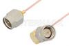SMA Male to SMA Male Right Angle Cable 48 Inch Length Using PE-034SR Coax -- PE34206-48 -Image