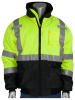 PIP Black/Lime Yellow Large Polyester Cold Weather Jacket - 5 Pockets - Quilted High Loft Polyfil Insulation - 616314-17816 -- 616314-17816