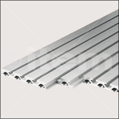 The extruded aluminium construction profiles are provided with grooves which can be used in conjunction with connecting elements and can also perform a whole range of additional functions.
