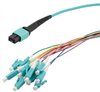 MPO w/ pins to LC fan-out, 0.9mm diameter, 12 fiber, OM4 50/125um Multimode, OFNR Jacket, Aqua, 1 meter -- MPM12OM4-09LCR-1 -Image