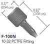 """One-Piece PCTFE (Natural) Fingertight Fitting for 1/16"""" OD Tubing, 10pk -- F-100Nx"""
