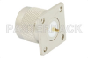 75 Ohm N Male Connector Solder Attachment 4 Hole Flange Mount Solder Cup Terminal, .718 inch Hole Spacing -- PE4504 -Image