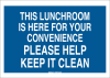 Brady B-401 Polystyrene Rectangle Blue Keep Clean Reminder Sign - 10 in Width x 7 in Height - 22857 -- 754476-22857