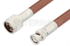 N Male to BNC Male Cable 48 Inch Length Using RG393 Coax, RoHS -- PE3254LF-48 -Image