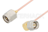 SMA Male to SMA Male Right Angle Cable 36 Inch Length Using PE-047SR Coax -- PE3230-36 -Image