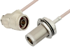 N Male Right Angle to N Female Bulkhead Cable 48 Inch Length Using RG316 Coax -- PE34214-48 -Image