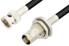 75 Ohm BNC Male to 75 Ohm BNC Female Bulkhead Cable 12 Inch Length Using 75 Ohm RG59 Coax, RoHS -- PE33179LF-12 -- View Larger Image