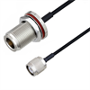 N Female Bulkhead to TNC Male Cable Assembly using LC085TBJ Coax, 1.5 FT -- LCCA30654-FT1.5 -Image