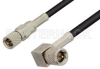 10-32 Male to 10-32 Male Right Angle Cable 72 Inch Length Using RG174 Coax, RoHS -- PE36526LF-72 -- View Larger Image