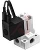 Valve, compact, 3 port, NC, 24VDC, L plug, non-locking push style override -- 70071357 - Image