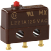 MICRO SWITCH SX Series Subminiature Basic Switch, Single Pole Double Throw (SPDT), 125 Vac, 1 A, Pin Plunger Actuator, Solder Termination, Military Part Number MS24547-2 -- 23SX39-T -Image