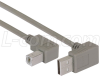 Right Angle USB cable, Up Angle A Male/ Down Angle B Male, 0.5m -- ECF504-120BAL - Image