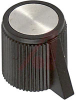 Knob; ABS; Round with Pointer; Black; 1/8 in.; 0.500 in.; Gloss -- 70206977