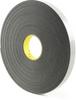 3M 4462 Double Coated Polyethylene Foam Tape Black 1 in x 72 yd Roll -- 4462 BLACK 1IN X 72YDS -Image