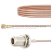 Snap-On RA MMBX Plug to N Female Bulkhead Cable RG316 Coax in 6 Inch -- FMCA1424-6 -Image