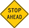 Brady B-959 Aluminum Square Reflective Orange Stop Signs, Traffic Control Signs & Banners Sign - 30 in Width x 30 in Height - TEXT: STOP AHEAD - 80074 -- 754476-80074