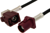 Bordeaux FAKRA Plug to FAKRA Jack Right Angle Cable 60 Inch Length Using PE-C100-LSZH Coax -- PE38749D-60 -Image