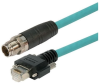 Category 6a M12 8 Position X code Double Shielded Industrial Cable, M12 M/GigE, 2.0m -- TAA00009-2M -Image