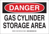Brady B-555 Aluminum Rectangle White Chemical, Biohazard, Hazardous & Flammable Material Sign - 10 in Width x 7 in Height - TEXT: DANGER GAS CYLINDER STORAGE AREA - 126228 -- 754473-74395