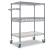 Three-Tier Wire Rolling Cart, 30w x 18d x 40h, Black Anthrac -- ALESW543018BA