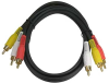12ft 3 RCA (Coax Video+2 Audio) AV Cable Gold Plated -- 2019-SF-12 - Image