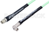 SMA Male to SMA Male Right Angle Low Loss Test Cable 100 CM Length Using PE-P142LL Coax with HeatShrink, LF Solder -- PE342-100CM -- View Larger Image