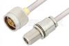N Male to N Female Bulkhead Cable 12 Inch Length Using PE-SR401AL Coax -- PE3993-12 -Image