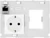Modlink MSDD front panel interface Universal insert double with VDE power socket + RJ45 -- 4000-68000-4300001 - Image