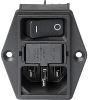 IEC Appliance Inlet C14 with Line Switch 2-pole, Fuseholder 1- or 2-pole