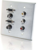 Double Gang (2) HD15 VGA + (2) 3.5mm + Composite Video + Stereo Audio Wall Plate - Brushed Aluminum -- 2225-40508-ADT - Image