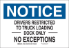 Brady B-401 Polystyrene Rectangle White Truck & Forklift Warehouse Traffic Sign - 14 in Width x 10 in Height - 129535 -- 754473-78605