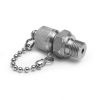 """G 1/4"""" male BSPP (ISO 228/1) x male Quick-test, no check-valve, with cap and chain, S.S. -- QTFT-2MS0-RS -- View Larger Image"""