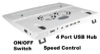 Laptop Cooling Pad w/ 4 Port USB 2.0 Hub -- 280403