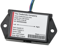 The 0729-1757-99 single-axis tilt switch utilizes a Fredericks TrueTILT™ wide-range electrolytic tilt sensor and two open collectors, one for each direction, with user-settable trip points for a repeatable and reliable output.