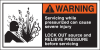 Brady B-302 Orange / White on Black Polyester Machine & Equipment Safety Label - 5 in Width - 2 1/2 in Height - Printed Text = WARNING - SERVICING WHILE PRESSURIZED CAN CAUSE SEVERE INJURY LOCKOUT SOU -- 754476-96173