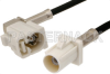 White FAKRA Plug to FAKRA Jack Right Angle Cable 48 Inch Length Using PE-C100-LSZH Coax -- PE38749B-48 -Image