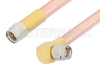 SMA Male to SMA Male Right Angle Cable 12 Inch Length Using RG401 Coax, RoHS -- PE34220LF-12 -Image