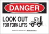 Brady B-555 Aluminum Rectangle White Truck & Forklift Warehouse Traffic Sign - 14 in Width x 10 in Height - TEXT: LOOK OUT FOR FORK LIFTS - 123746 -- 754473-79425