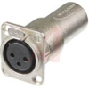 Adapter 3 pole female receptacle to male cable connector, feedthough XLR, panel -- 70088422 - Image