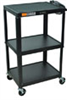 Steel Utility Cart with Three Flat Shelves and open shelf Workstation, Gray -- EW-47600-64