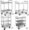 LAKESIDE Stainless Steel Utility Carts with Tubular Frame -- 1094000