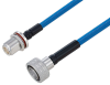 Plenum Snap-On 4.3-10 Male to N Female Bulkhead Low PIM Cable 12 Inch Length Using SPP-250-LLPL Coax Using Times Microwave Parts -- PE3C6226-12 -Image
