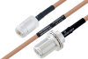 MIL-DTL-17 N Female to N Female Bulkhead Cable 100 cm Length Using M17/128-RG400 Coax -- PE3M0068-100CM -Image