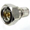 7/16 DIN Male (Plug) to SC Male (Plug) Adapter, Nickel Plated Brass Body, High Temp, 1.3 VSWR -- SM4649 - Image