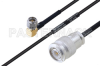 MIL-DTL-17 SMA Male Right Angle to TNC Male Cable 8 Inch Length Using M17/119-RG174 Coax -- PE3M0112-8 -Image