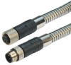 Category 5e M12 4 Position D code Armored Double Shielded Industrial Cable, M12 M/M12 F, 1.0m -- T5A00024-1M -Image