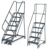 Rolling Office Ladder,3 Step,Blue -- F029