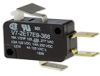 MICRO SWITCH V7 Series Miniature Basic Switch, Single Pole Double Throw Circuitry, 10 A at 250 Vac, Short Flag Lever Actuator, Quick ConnectTermination, 0,88 N [3.1 oz] Maximum Operating Force, Silver -- V7-2E17E9-366 -Image